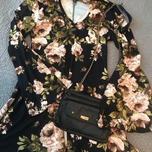 Small boutique black/floral dress.